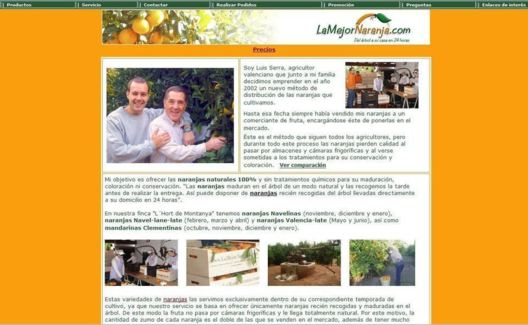 Lamejornaranja.com was one of the first Spanish websites to sell fruit and vegetables (photo: DR)