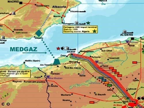 Medgaz directly links Algeria to Spain (Medgaz map)