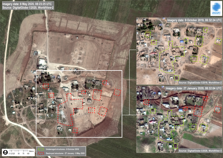One of the proofs of the destruction of houses belonging to civilians contained in the report (photo: UNITAR/UNOSAT)