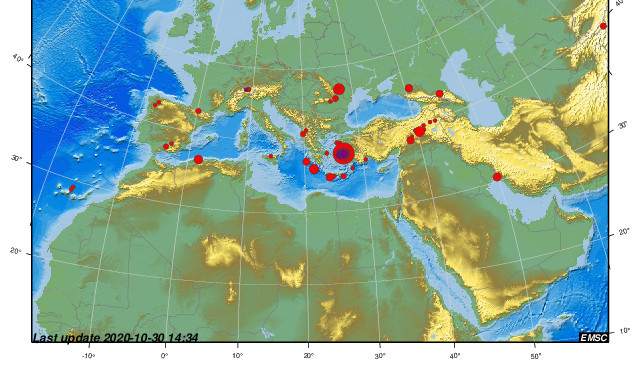 Several earthquakes have occurred in the Aegean Sea (CSEM/EMSC map)