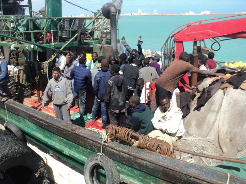 Migrants rescued by the Tunisian police in 2015 at the port of Zarzis (photo: IOM)
