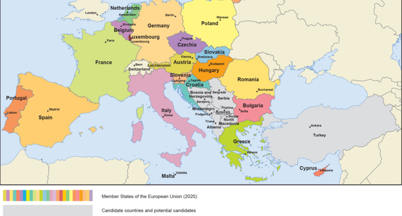 The 27 EU member states and the hole in the Western Balkans racket (map: European Commission)