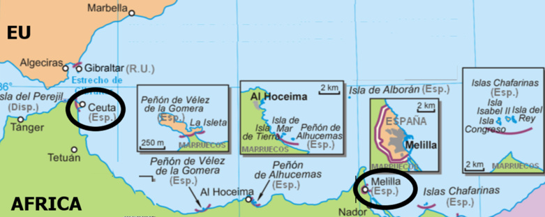 Ceuta and Melilla, the two Spanish enclaves in Morocco, are economically asphyxiated (map: DR)