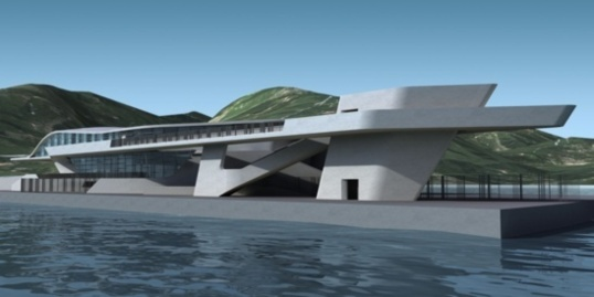 Graphics of the future cruise terminal in Salerno during construction. Built in the shape of a closed oyster shell, the terminal will be open to the sea.  (Photo Zaha Hadid Architect)