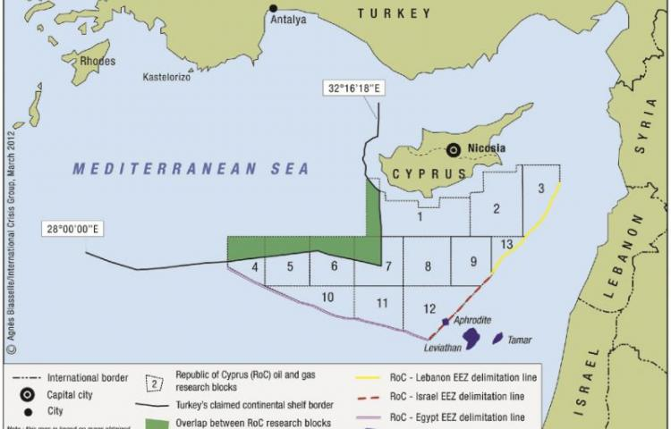 "Four countries declare Turkish-Libyan maritime border agreement ""null and void Turkey has started drilling off Cyprus (map: International crisis group)"