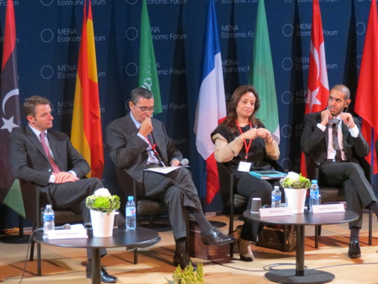 "Participants in the session ""The Role of Financial Institutions in Supporting the Real Economy"". Photo JC Barla"