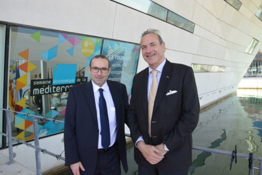 David Demulier, Head of advice and development at FEMIP (left) and Henry Marty-Gauquié, the EIB's representative in France.  (Photo N.B.C)