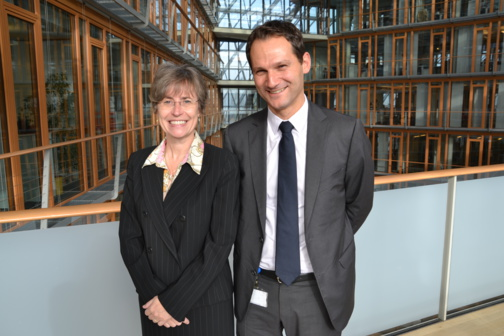 Marion Hoenicke, head of division Lending Operations in neighbouring countries banks, and Laurent Nicolaï, Loan Officer Lending operations in neighbouring countries banks, based in Luxembourg (photo F.Dubessy)
