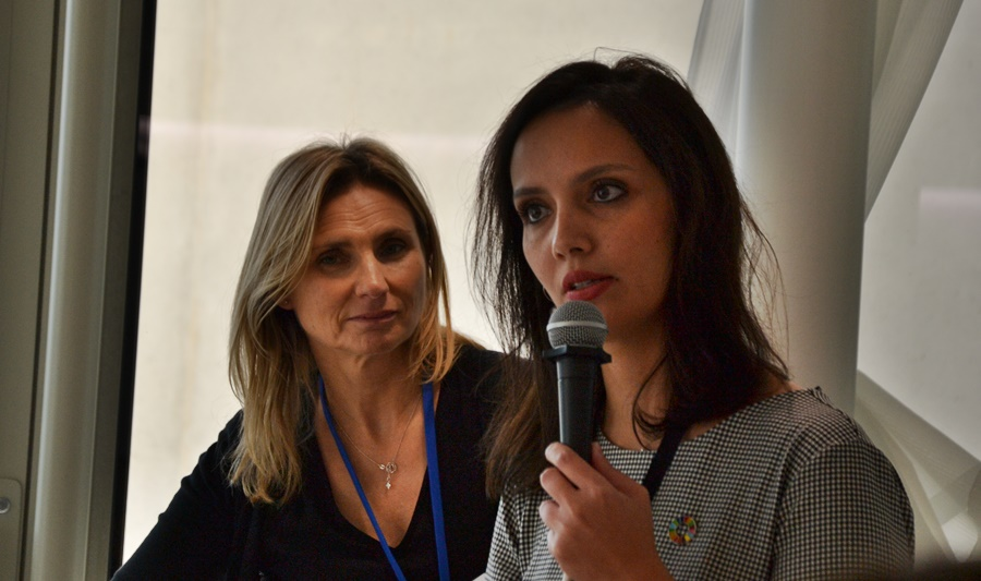 Patricia Augier and Layla Al-Qasim during the worshop organized by Femise and Institut de la Méditerranée during Emerging Valley (photo : F.Dubessy)