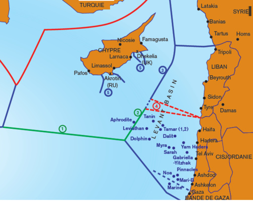 The route of the maritime border between the two countries will be the most difficult - in red the disputed zone between Israel and Lebanon - because of the presence of hydrocarbons (map: DR)