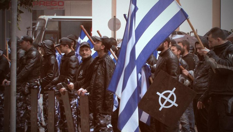 "The Greek judiciary considered the neo-Nazi Golden Dawn party to be a criminal organisation (Screenshot film ""Golden Dawn a personal affair"")."