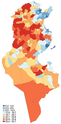 The poverty map published by the INS shows the disparities between regions (map: INS)