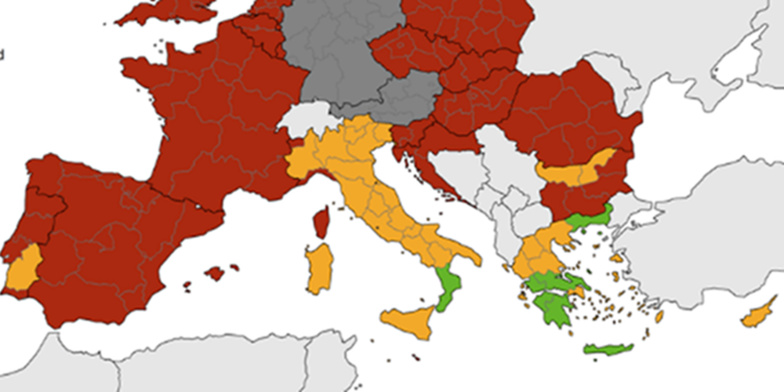 Green remains the exception on the map of combined items in the regions of Southern Europe (map: ECDC)