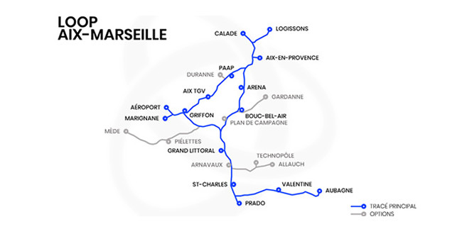 The Loop is planning 15 stations in the first phase (map: Loop Aix Marseille)