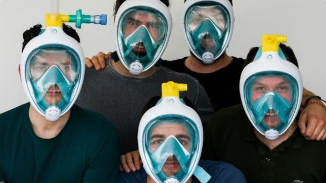 An Italian engineer transformed a Decathlon diving mask into a respirator mask to help hospitals (photo: Twitter)