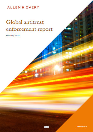"The ""Global antitrust enforcement"" report lists the amount of sanctions imposed worldwide for anti-competitive measures (cover of the Allen & Overy report)."