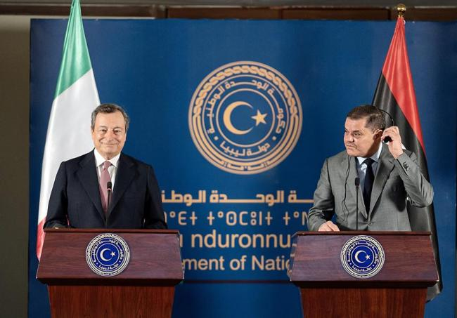 Mario Draghi reserved his first official trip as Italian Prime Minister for Libya, where he met with the new Prime Minister Abdel Hamid Dbeibah (photo: Italian Council Presidency)