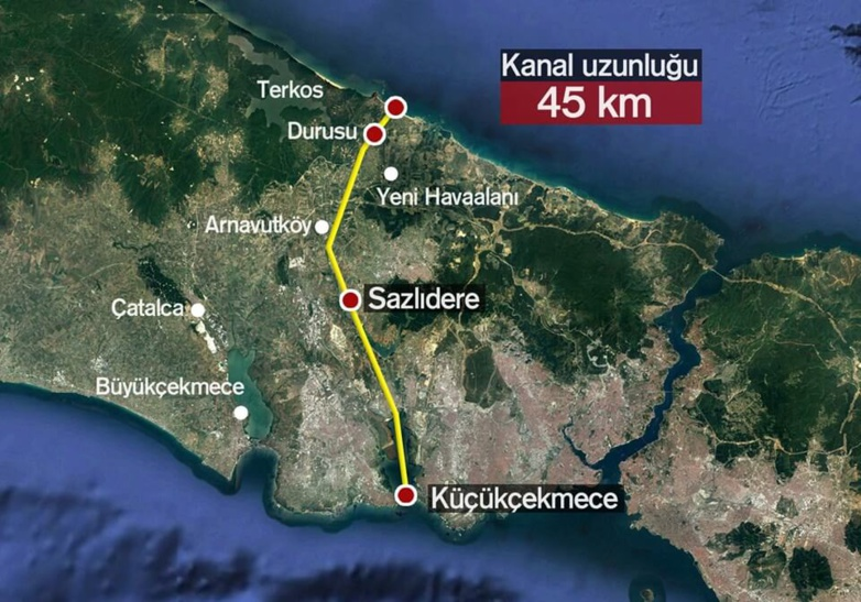 The Istanbul Canal will be 45 km (27 miles) long (map: DR)