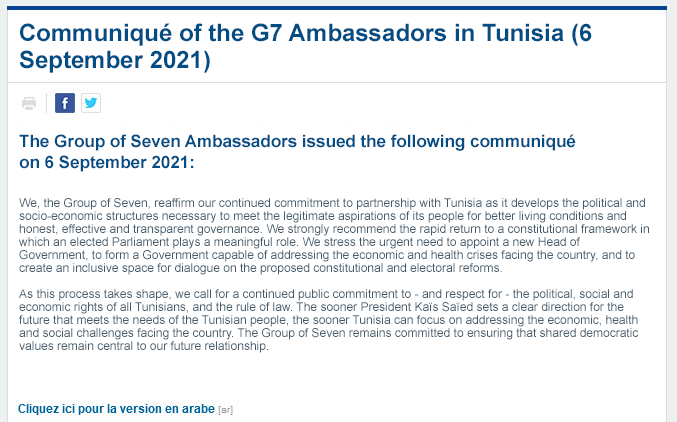 G7 ambassadors call for a return to the rule of law in Tunisia