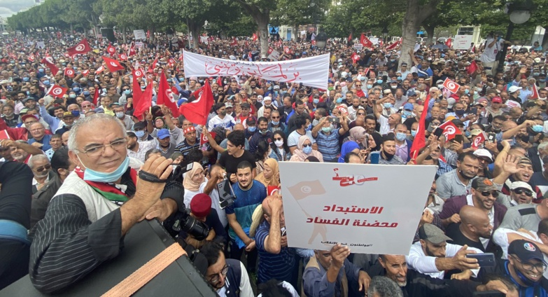 The demonstrators were concentrated in downtown Tunis (photo: Twitter/Ennhardha)