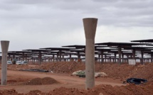 Noor-Ouarzazate III solar power plant emerging from the ground